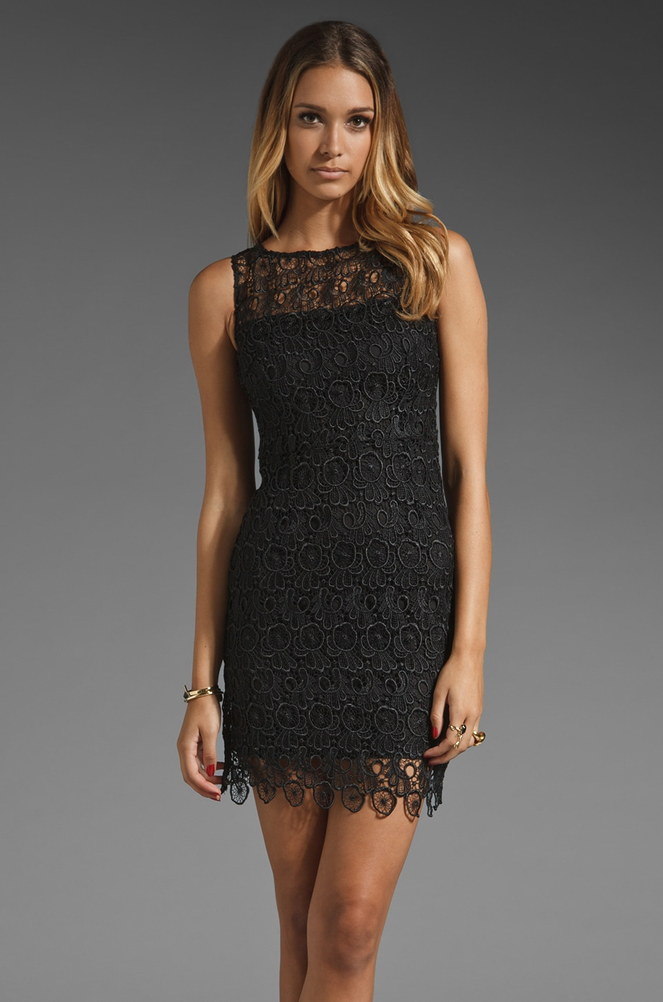 BB Dakota Morrow Lace Sheath Dress in Black