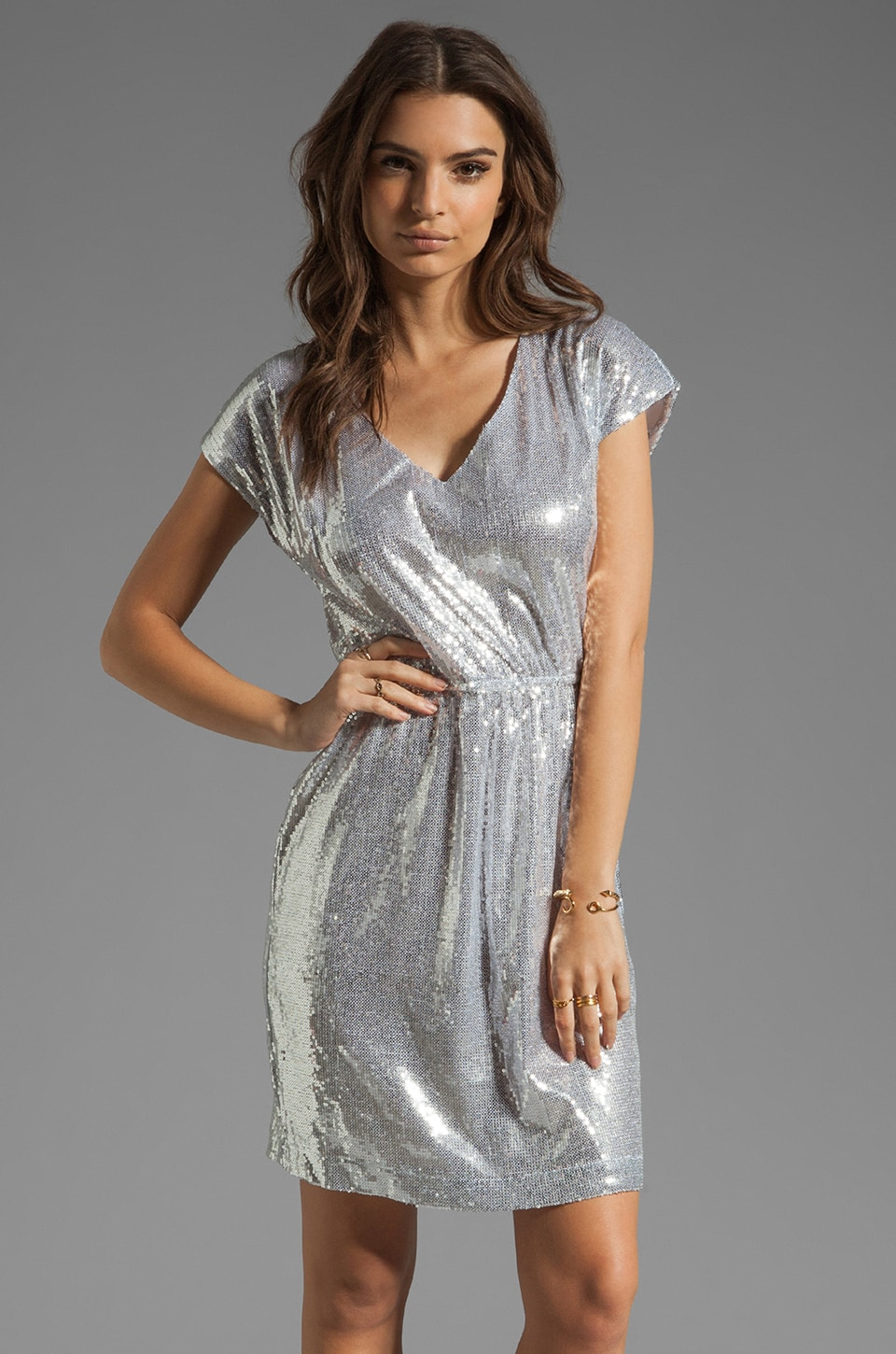 BB Dakota Luca Sequin Sheath Dress in Silver