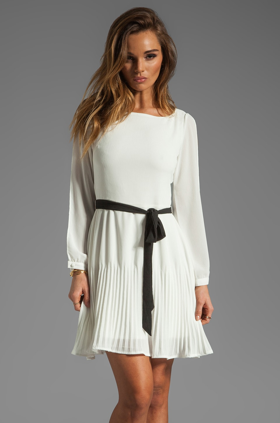 BB Dakota Fareeda Split Sleeve High Crinkle Chiffon Dress in Dirty White/Black
