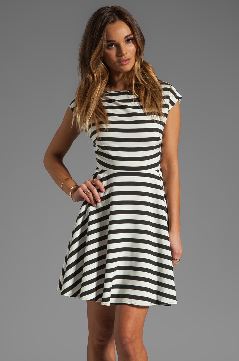 BB Dakota Zamora Stripe Rayon Dress in Black/Optic White