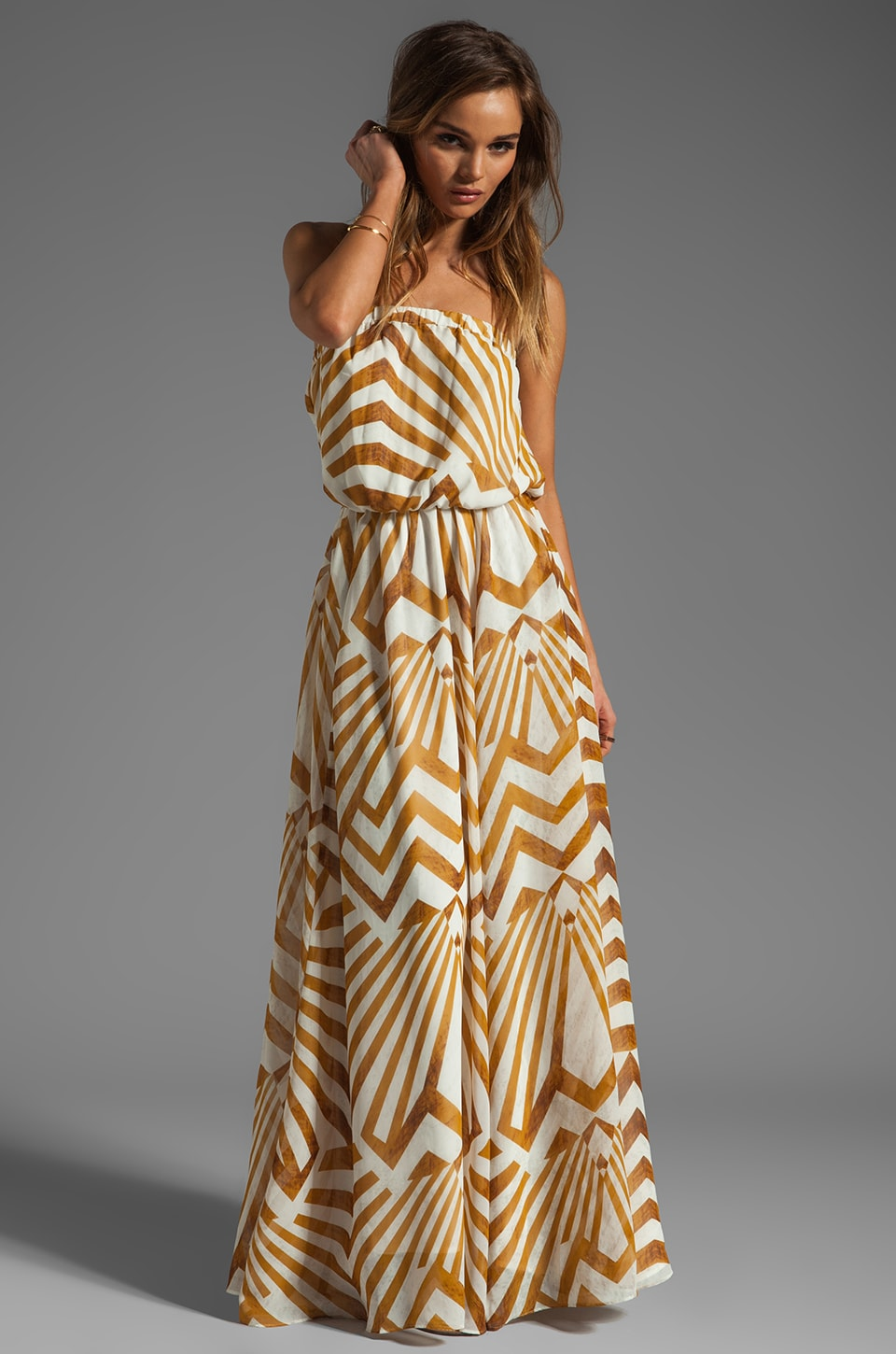 BB Dakota Imelda Golden Pyramid Printed Chiffon Maxi Dress in Gold