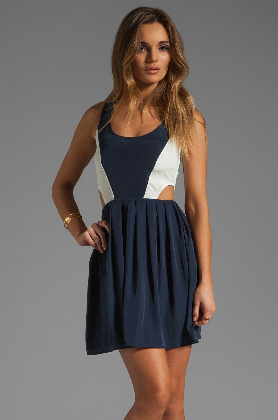 BB Dakota Ripley Colorblock Cupra Touch Dress in Navy/White