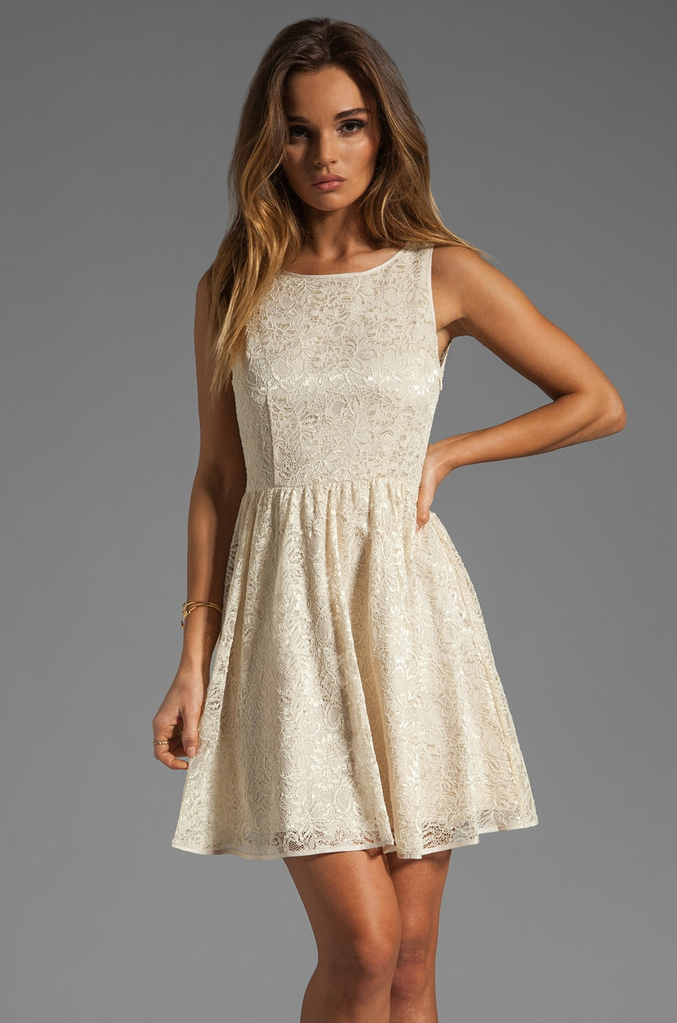 BB Dakota Azura Pleated Lace Dress in Whitecap Beige