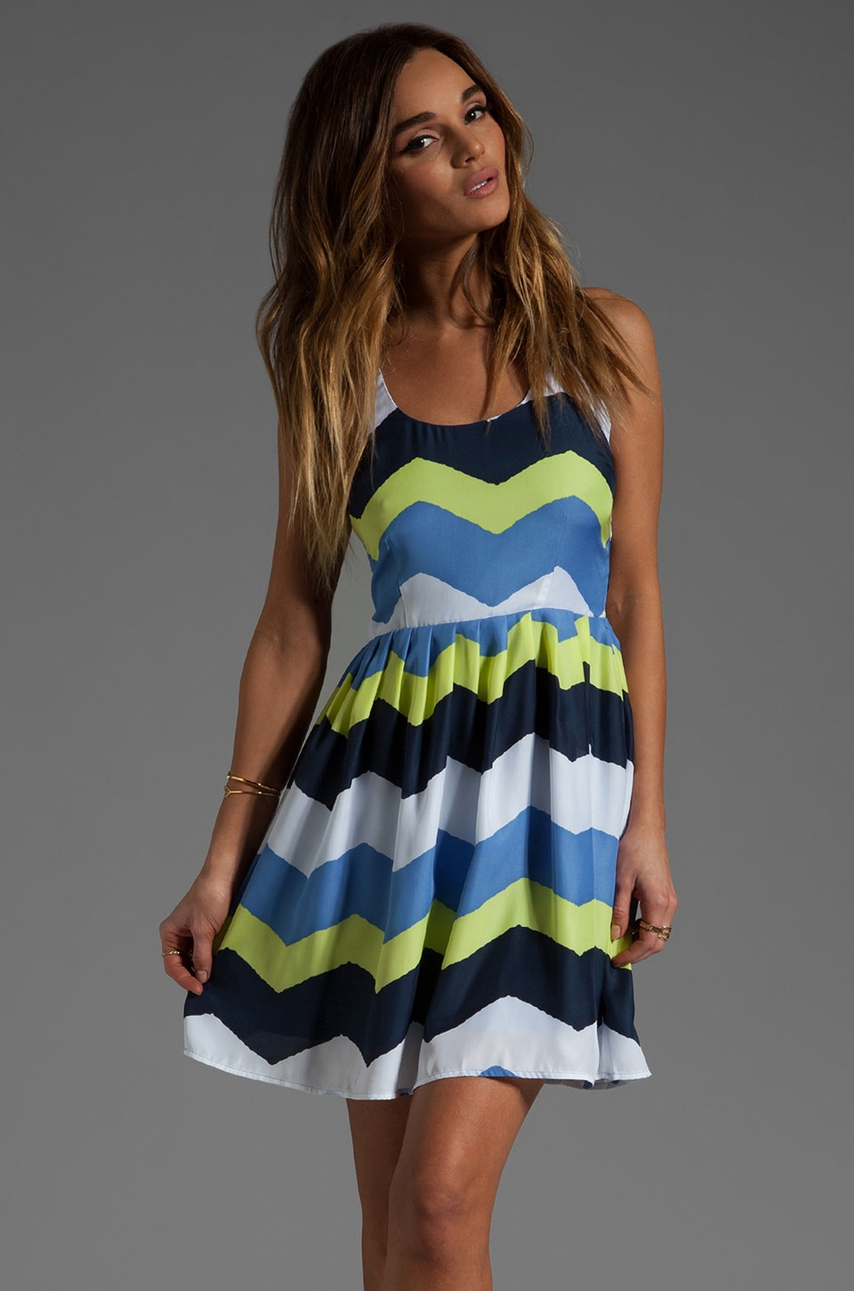 BB Dakota Maggie Painted Zig Zag Printed Dress in Navy Blue