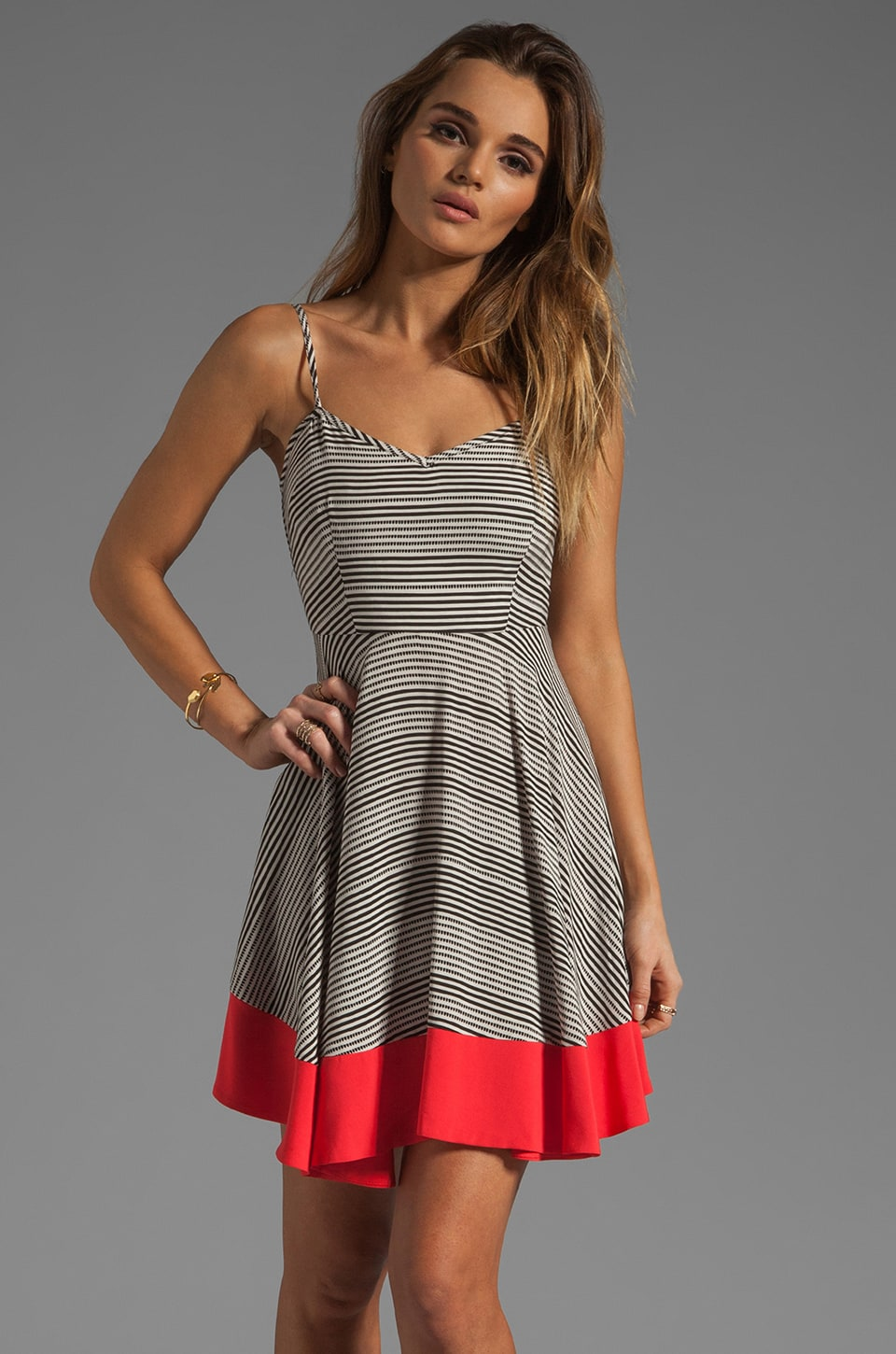 BB Dakota Nash Striped Dress in Black/Whitecap/Popred
