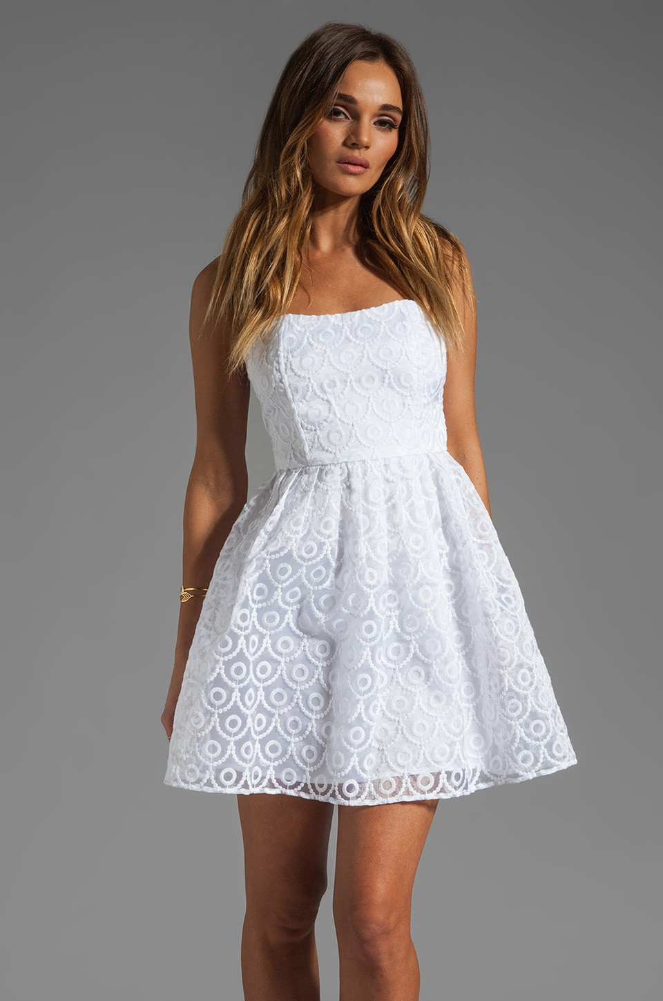 BB Dakota Wesley Embroidered Organza Dress in White