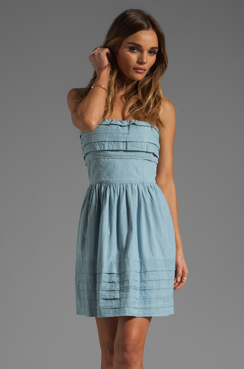 BB Dakota Emiley Cotton Chambray Dress in Light Blue