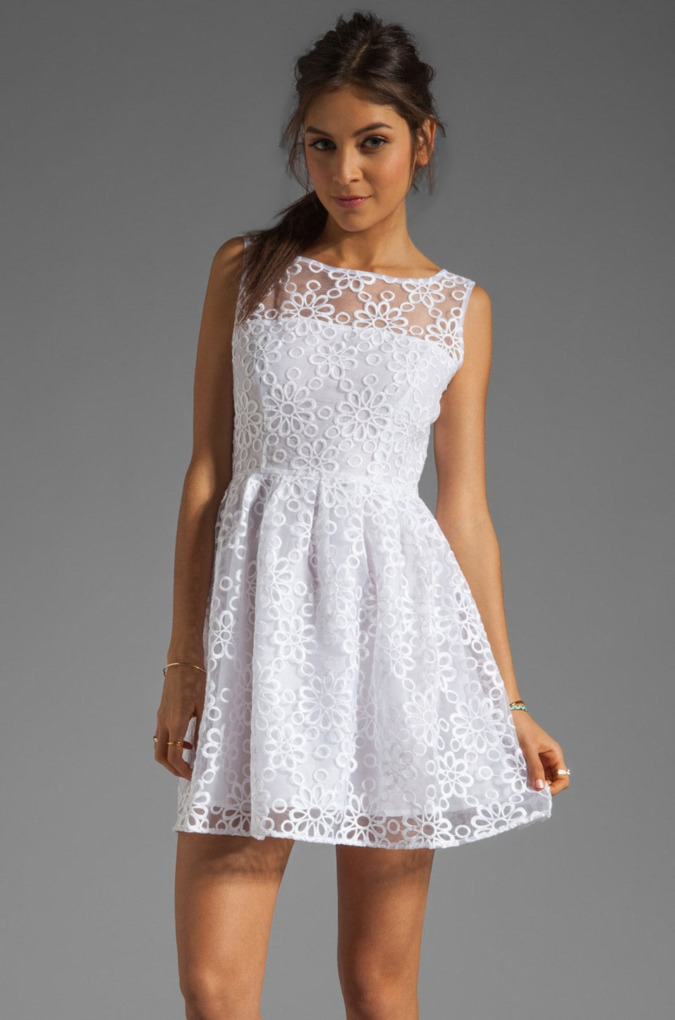 BB Dakota Huela Organza Embroidered Dress in Optic White