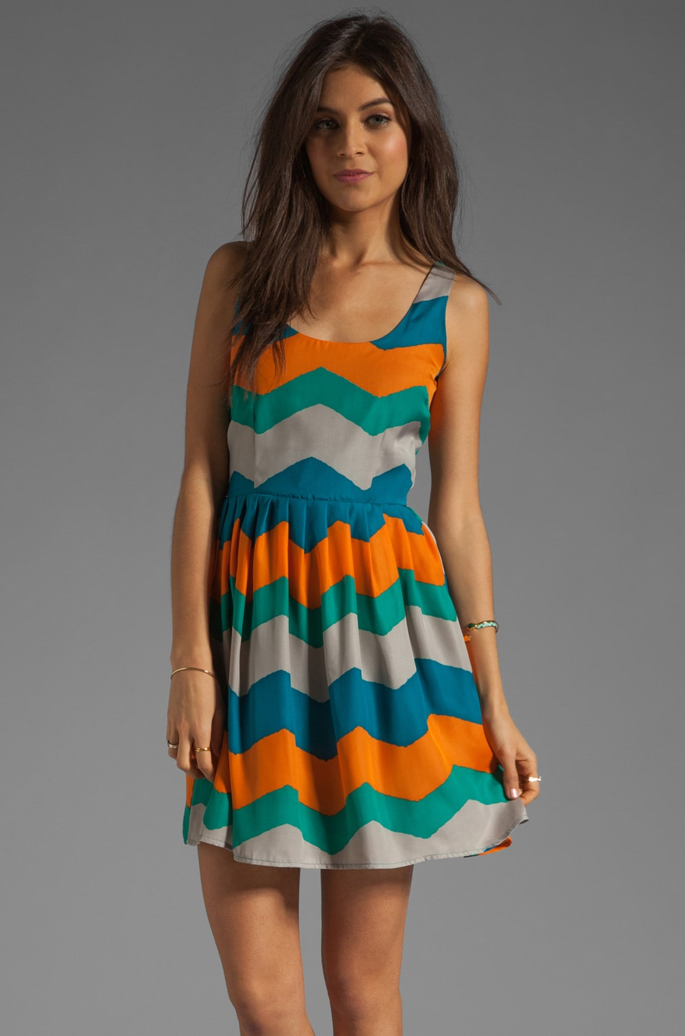 BB Dakota Maggie Painted Zigzag Charmuese Dress in Electric Orange