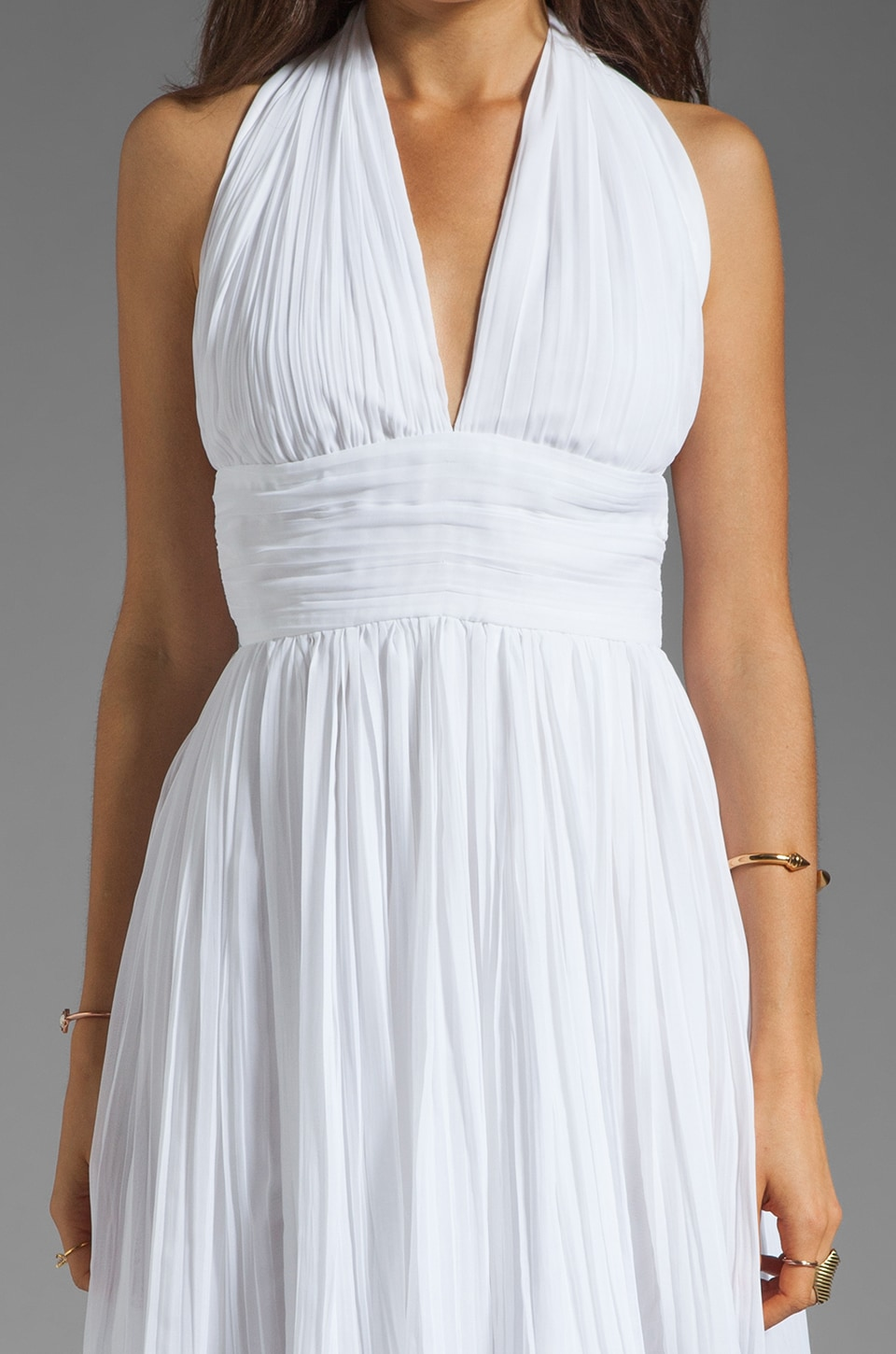 BB Dakota Graciela Pleated Chiffon Dress in Optic White