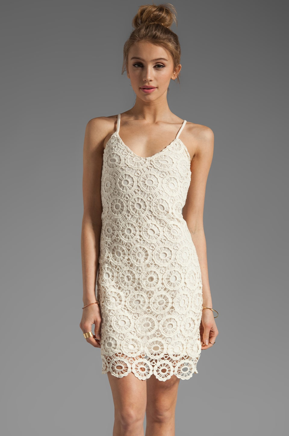 BB Dakota Lynchburg Lace Mini Dress in Ivory