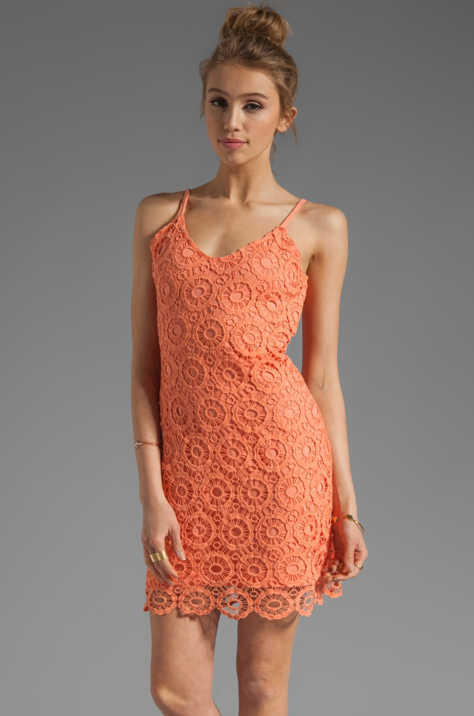 BB Dakota Lynchburg Lace Mini Dress in Fresh Peach