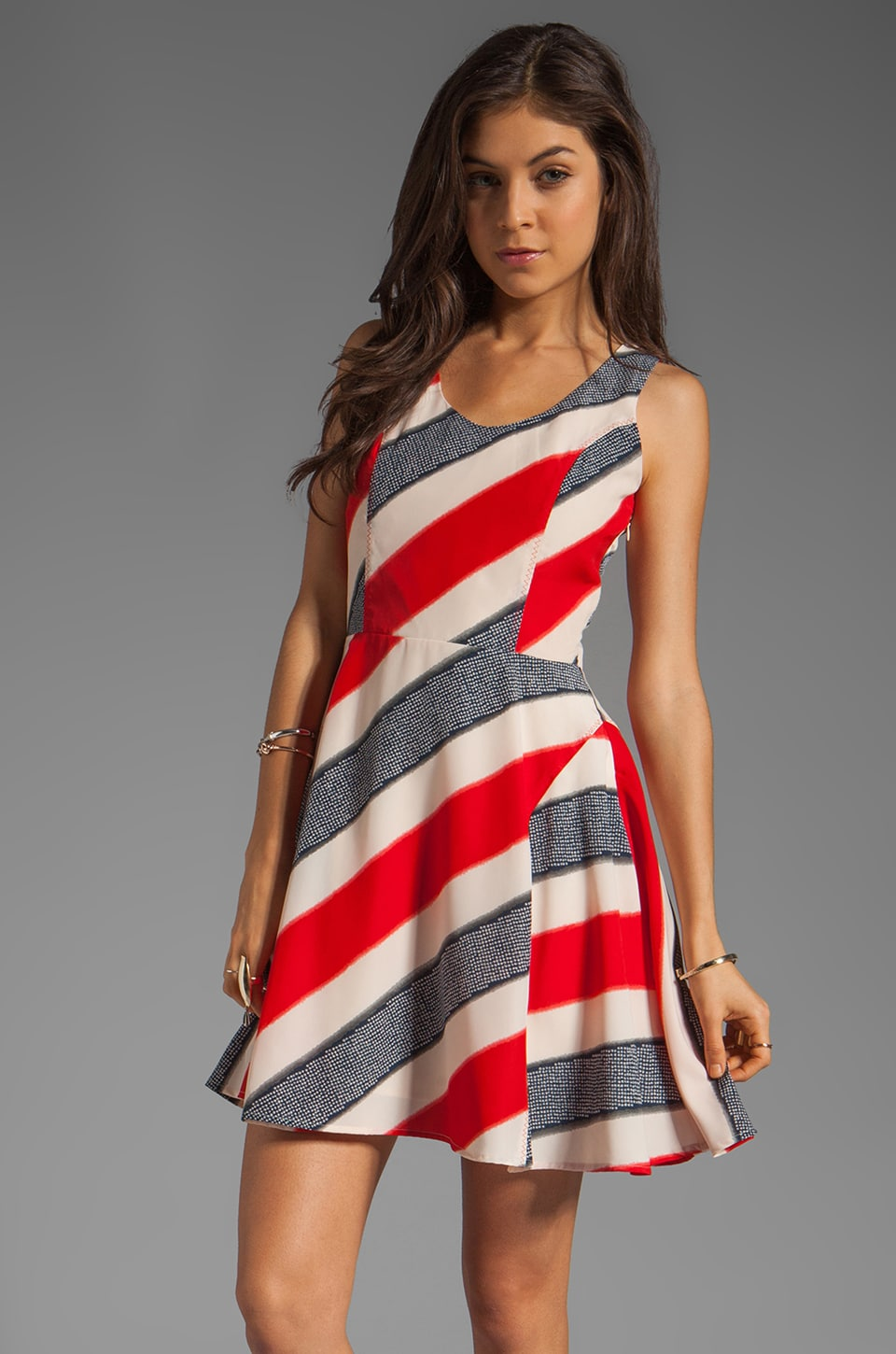 BB Dakota Gwynn Striped River Printed Dress in Midnight Blue/True Red