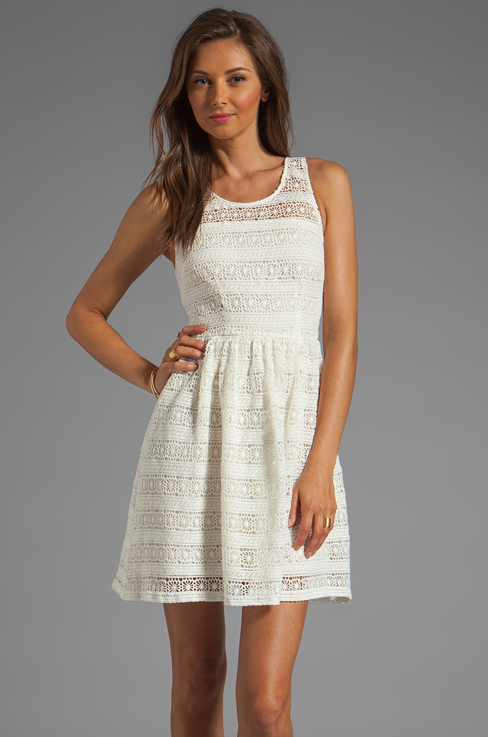 BB Dakota Jacynth Cotton Crochet Dress in Ivory
