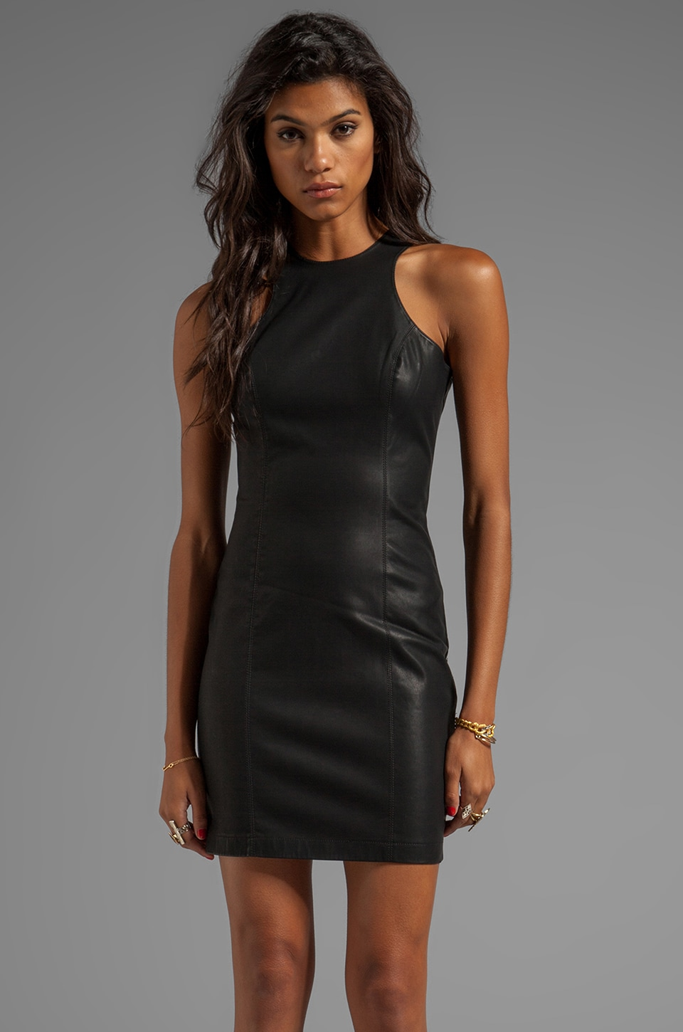 BB Dakota Simone Stretch PU Dress in Black