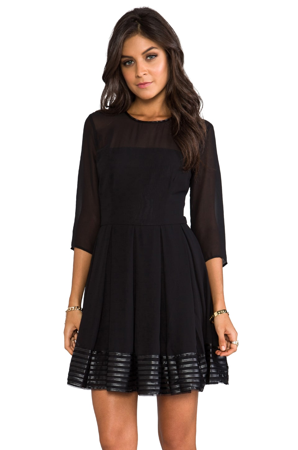 BB Dakota India Chiffon and Mesh Long Sleeve Dress in Black