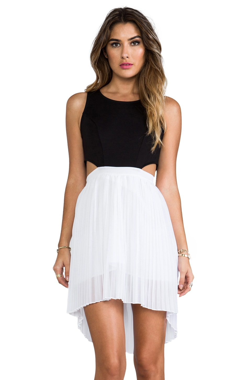 BB Dakota Jace Pleated Tank Dress in Black & White