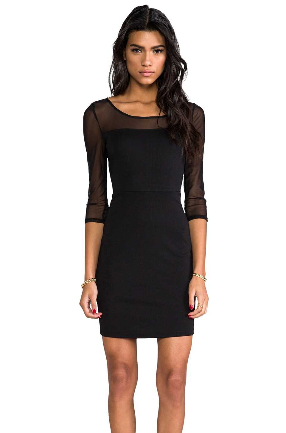 BB Dakota Lysa Mesh Ponte Dress in Black