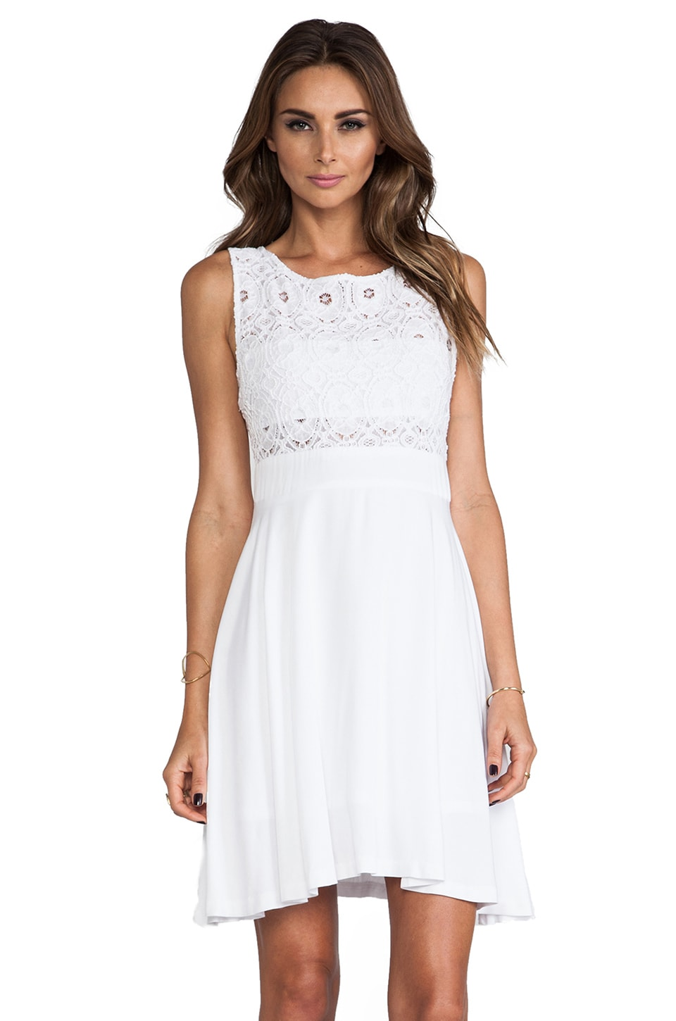 BB Dakota Sela Mini Dress w/ Lace Top in Optic White