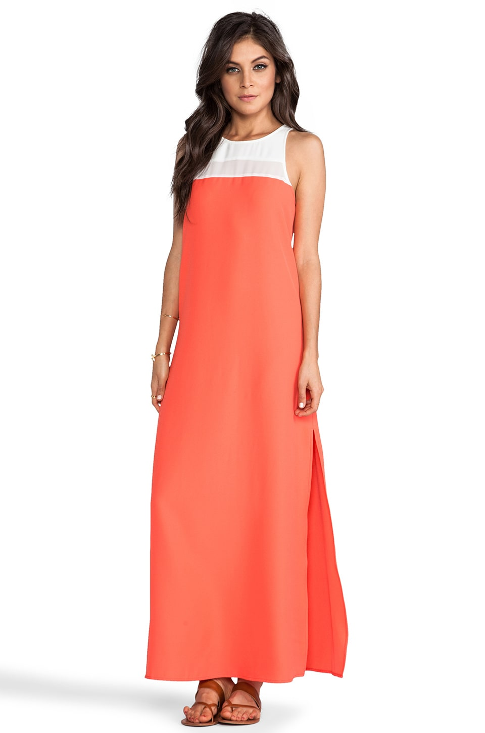 BB Dakota Sola Color Block Maxi Dress in Dirty White & Sevilla Orange