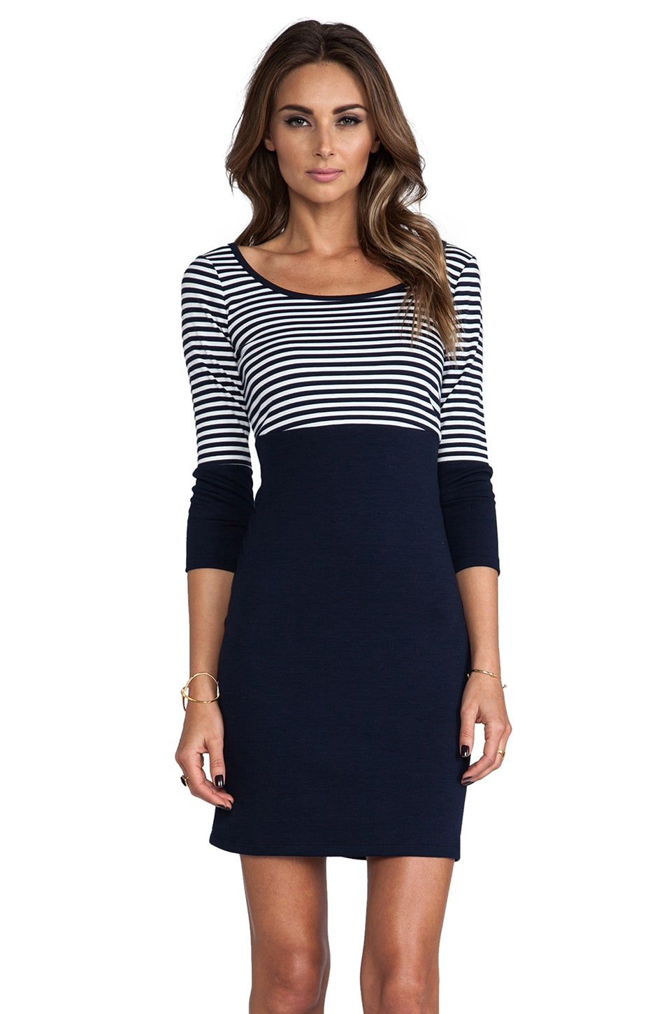 BB Dakota Tallis Color Block Knit Dress in Navy