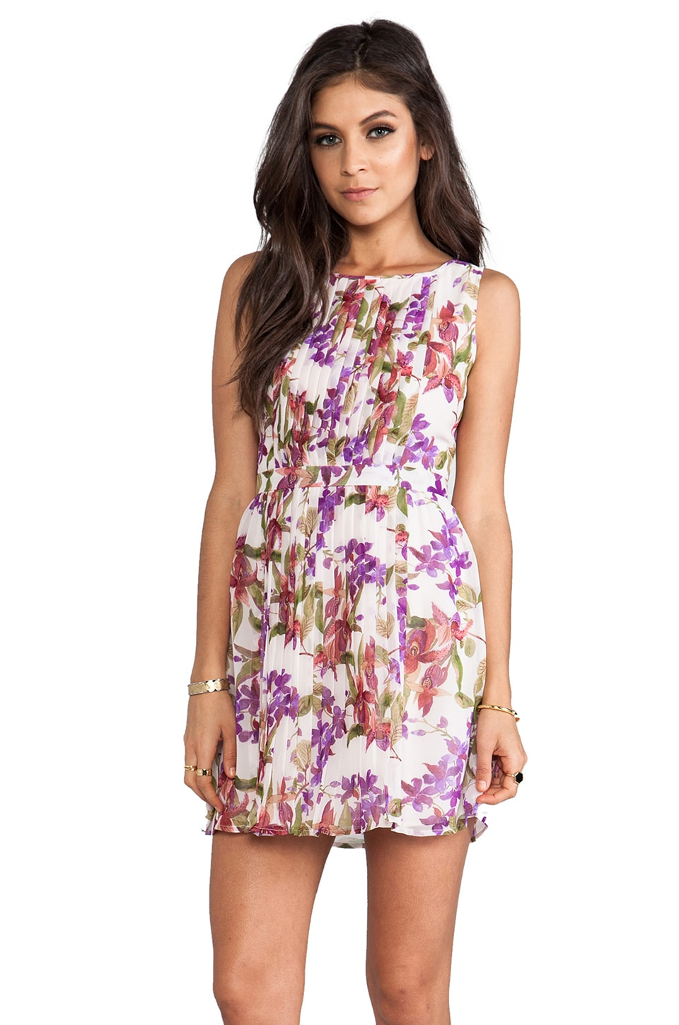 BB Dakota Abril Orchid Printed Tank Dress in White Cap