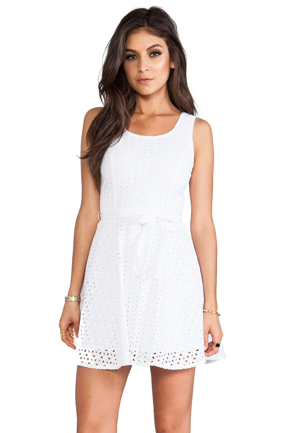 BB Dakota Jerebele Eyelet Mini Dress in White