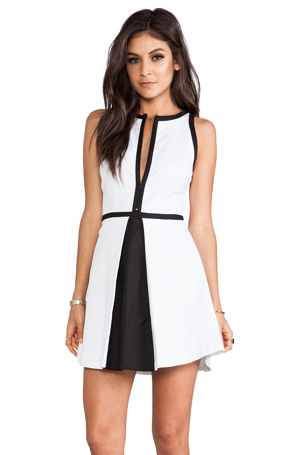 BB Dakota Derry Colorblock Palio Linen Dress in Optic White & Black