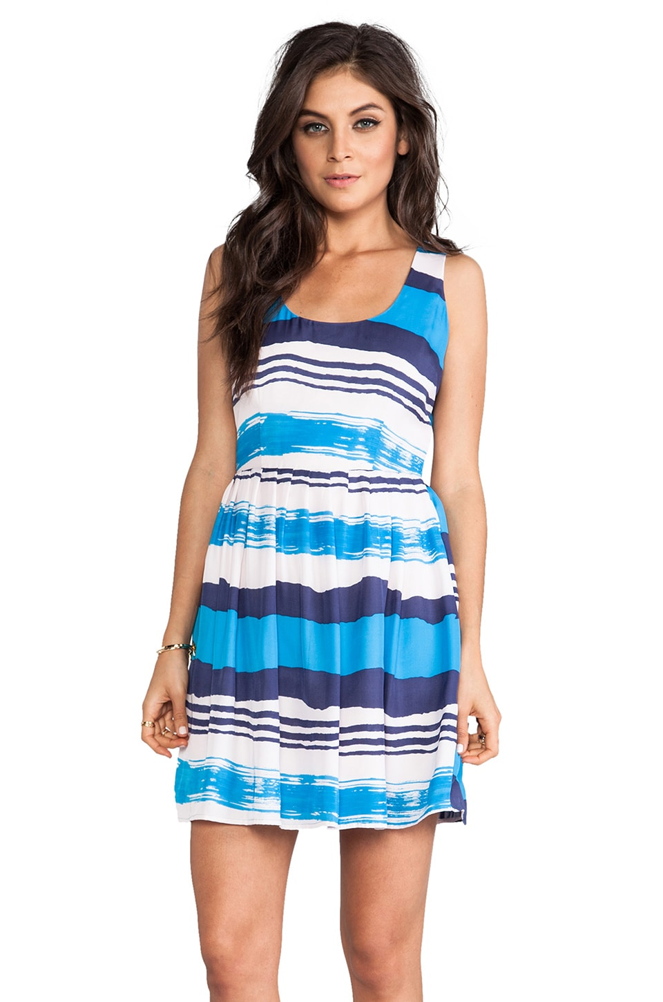 BB Dakota Jamband Wave Printed Tank Dress in Menthly Blue
