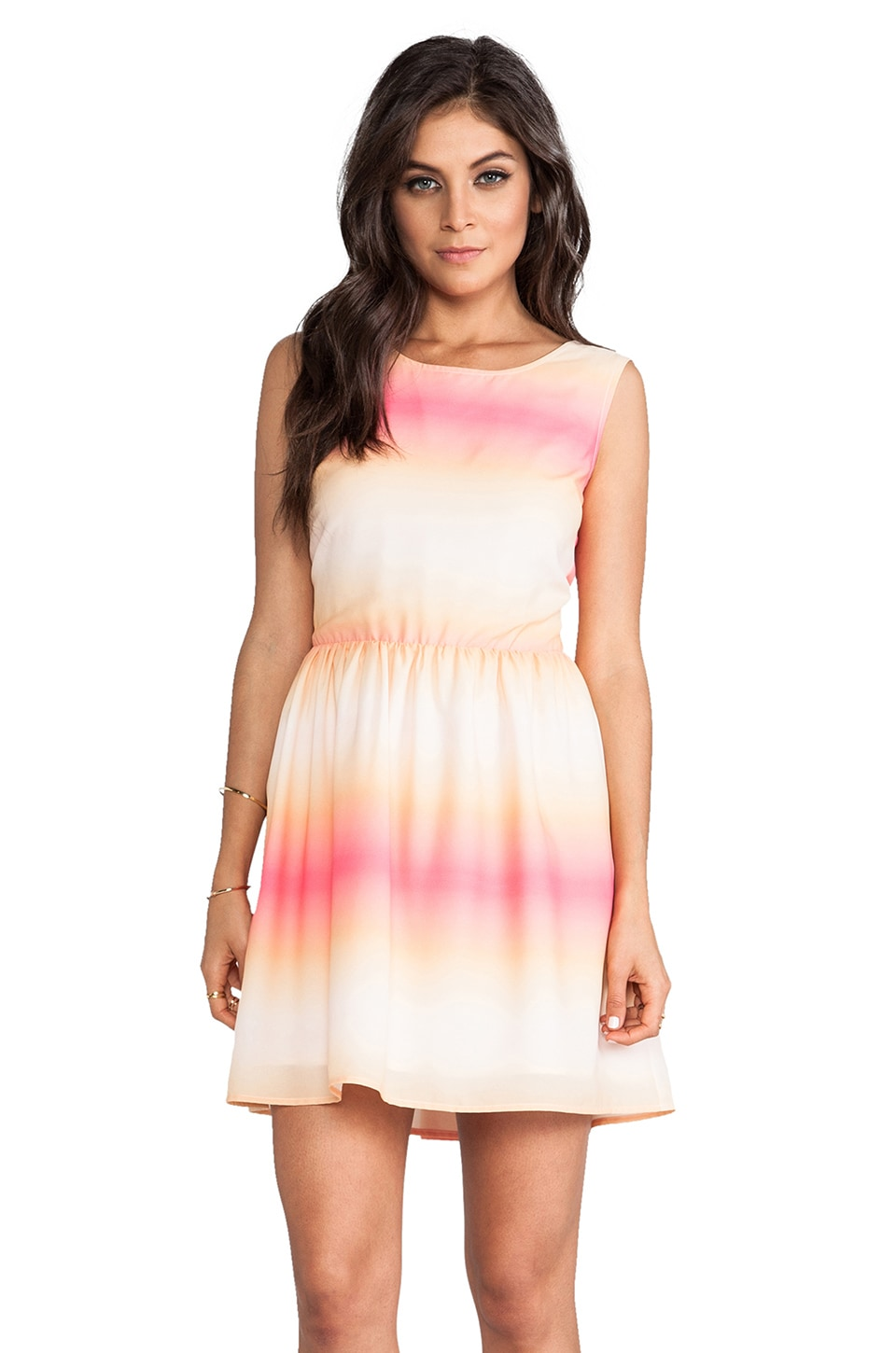 BB Dakota Celerina Horizon Printed Dress in Peach Blush