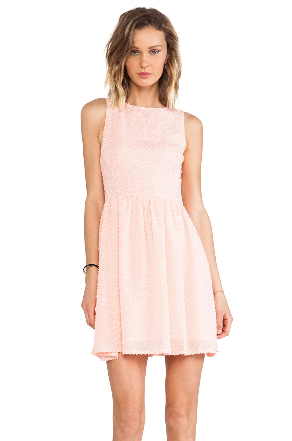 BB Dakota Lola Feathered Chiffon Dress in Peach