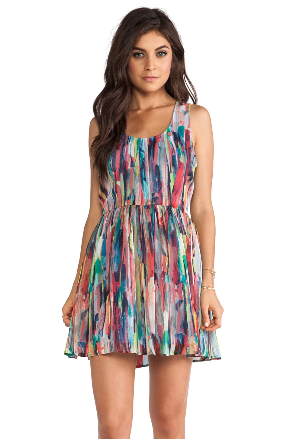 BB Dakota Kenza Cascade Mini Dress in Multi