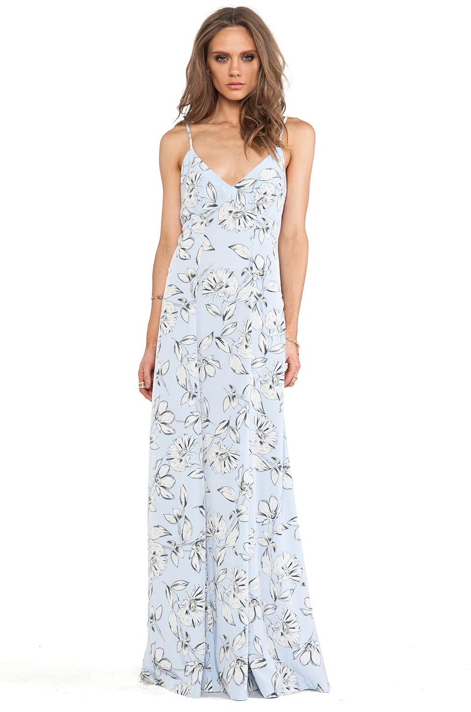 BB Dakota Elvya Flora Maxi Dress in Blue Angel
