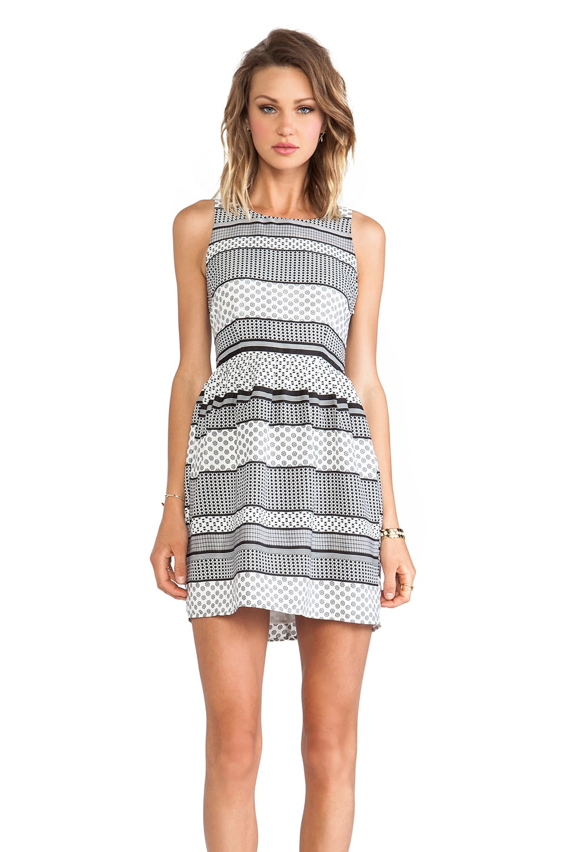 BB Dakota Lola Striped Foulard Dress in Black & White