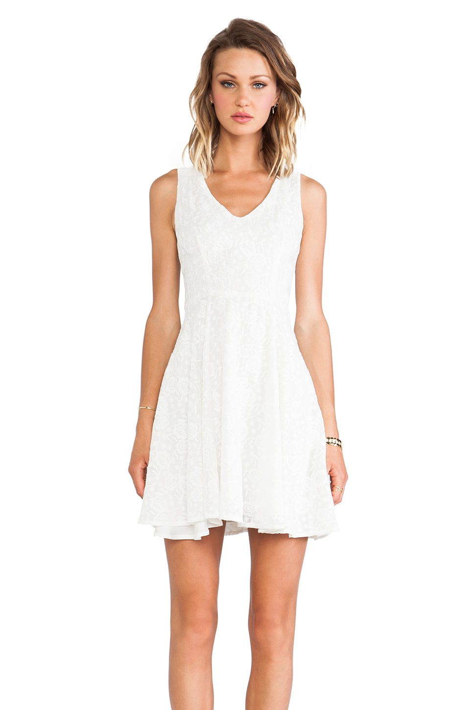 BB Dakota Millard Embroidered Floral Dress in Ivory