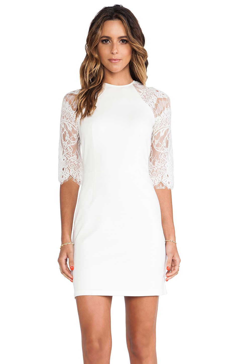 BB Dakota Princeton Ponte Dress w/ Lace Sleeves in Ivory