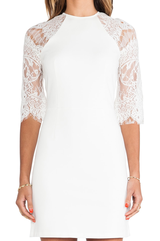BB Dakota Princeton Ponte Dress w/ Lace Sleeves in Ivory - REVOLVE