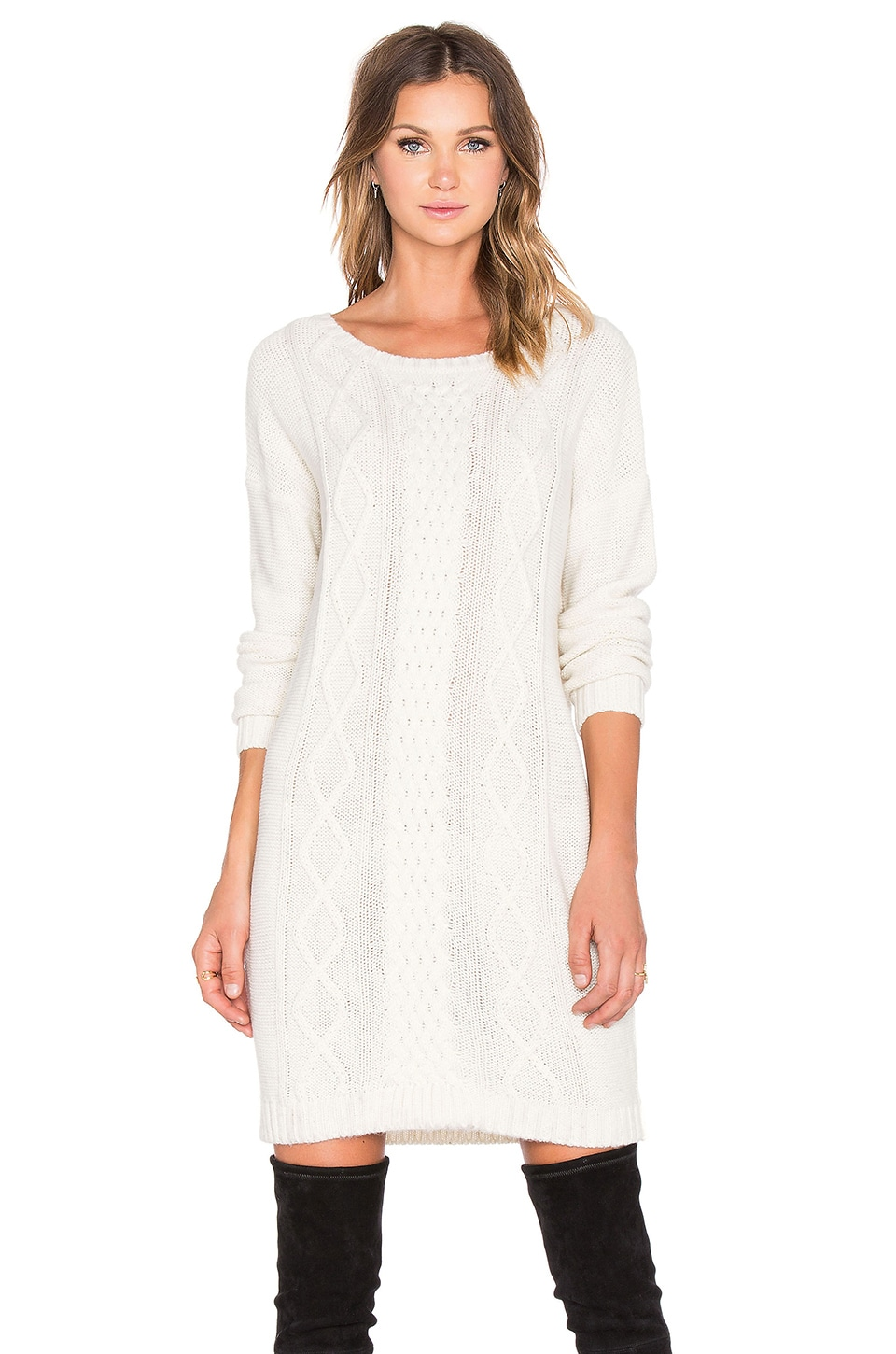 BB Dakota Scout Sweater Dress in Whisper White