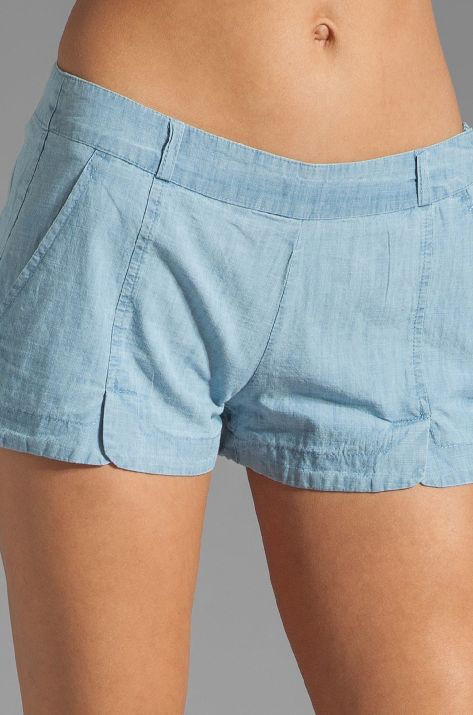 BB Dakota Anna Cotton Chambray Shorts in Light Blue