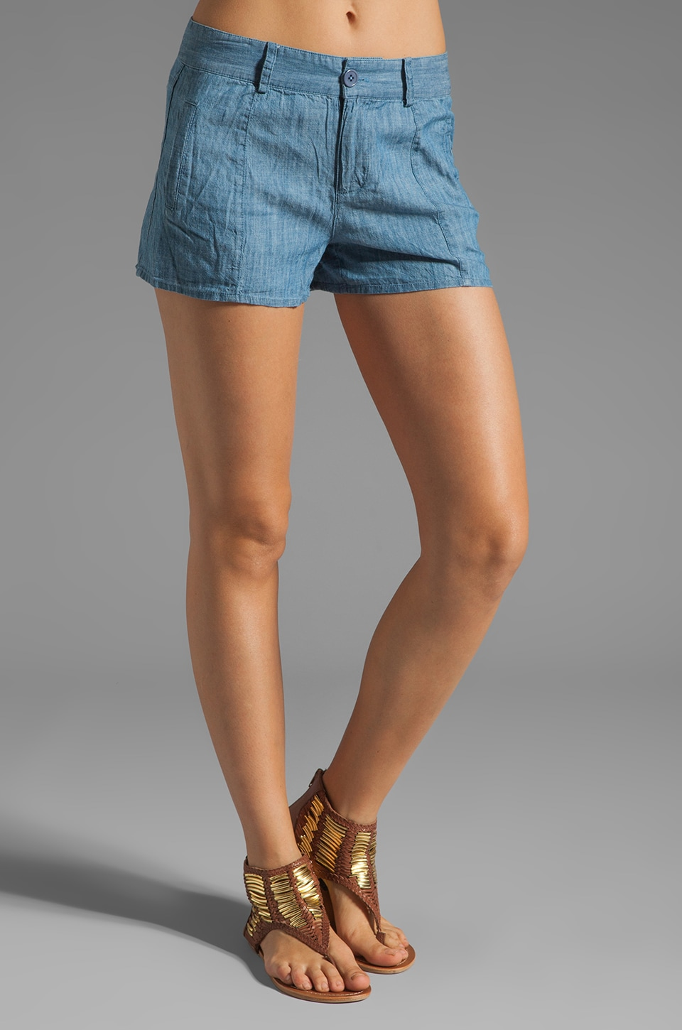 BB Dakota Lismore Chambray Shorts in Dark Denim