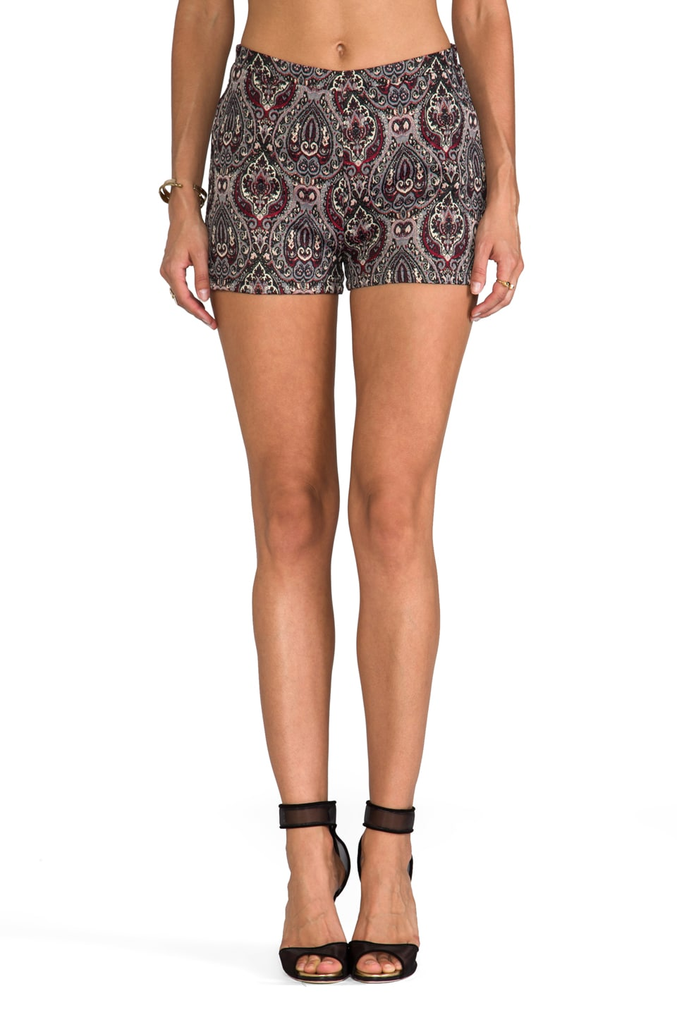 BB Dakota Jovita Paisley Lurex Brocade Shorts in Syrah Red