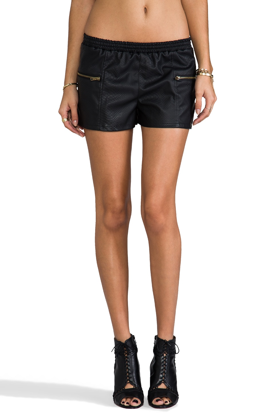 BB Dakota Ionna Embossed Shorts in Black