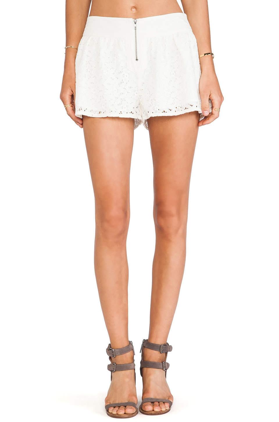 BB Dakota Amiri Crochet Lace Shorts in Ivory