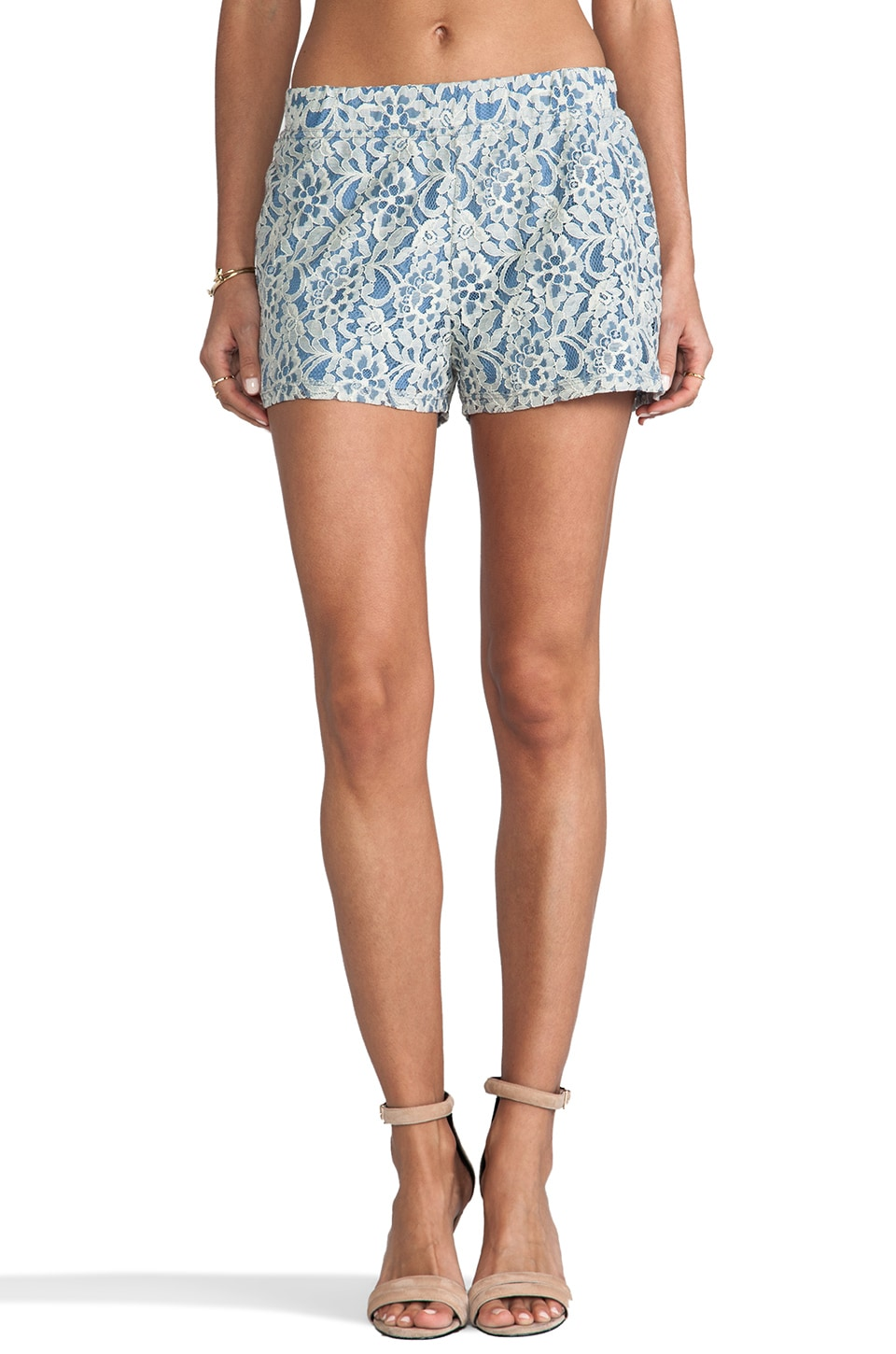 BB Dakota Milo 2 Toned Lace Shorts in Blue & White