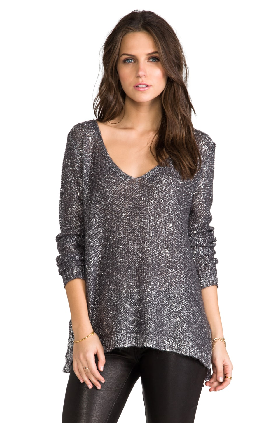 BB Dakota Myla Sequin Open Back Sweater in Grey