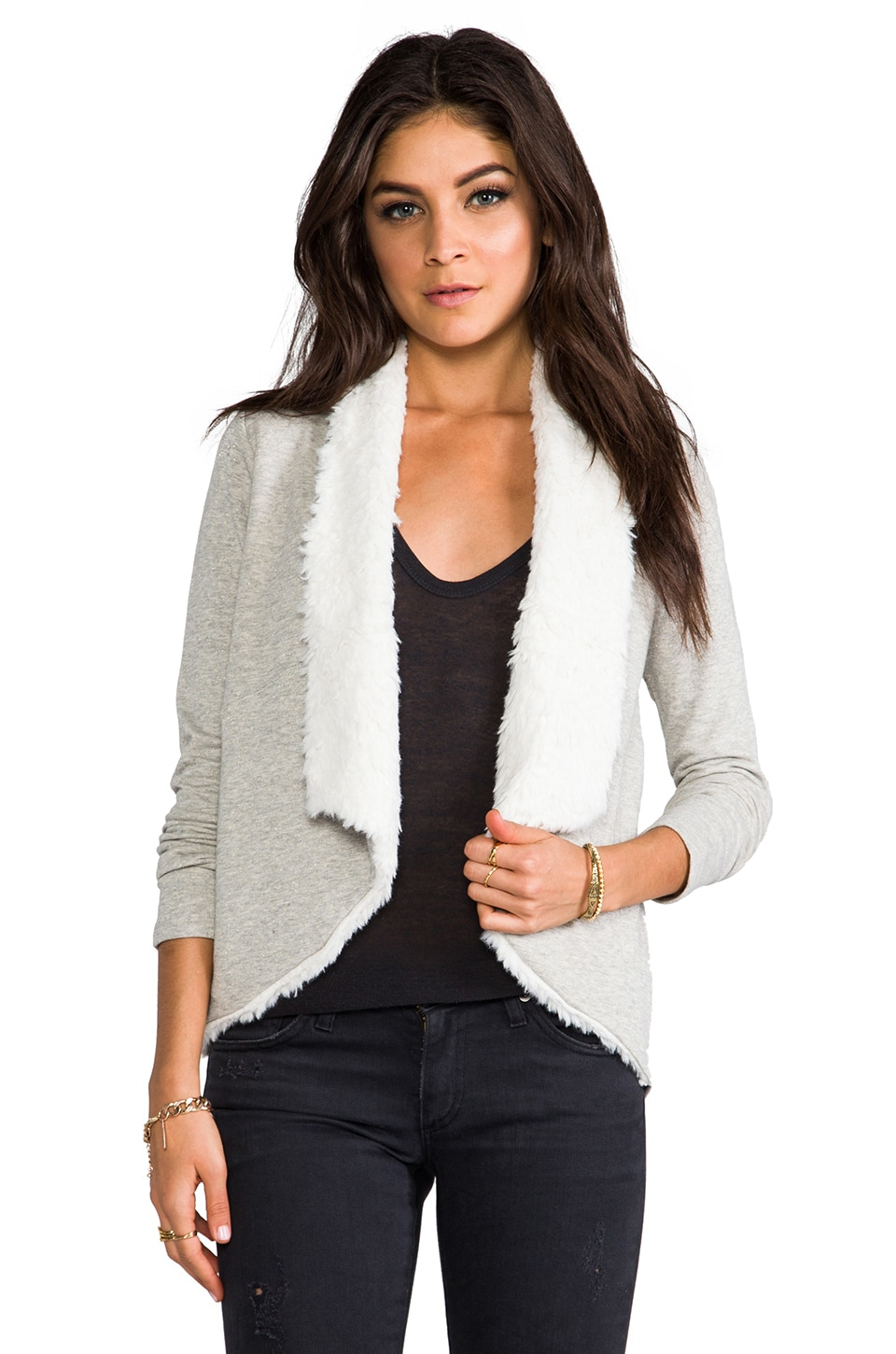 BB Dakota Lola French Terry Cardigan with Faux Shearling Trim in Light Heather Grey
