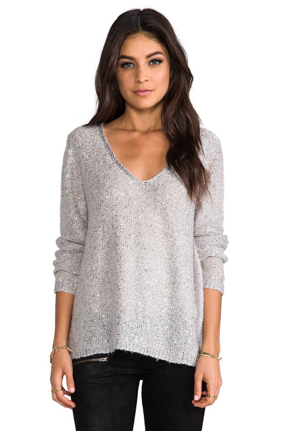 BB Dakota Sequin Open Back Sweater in Nude