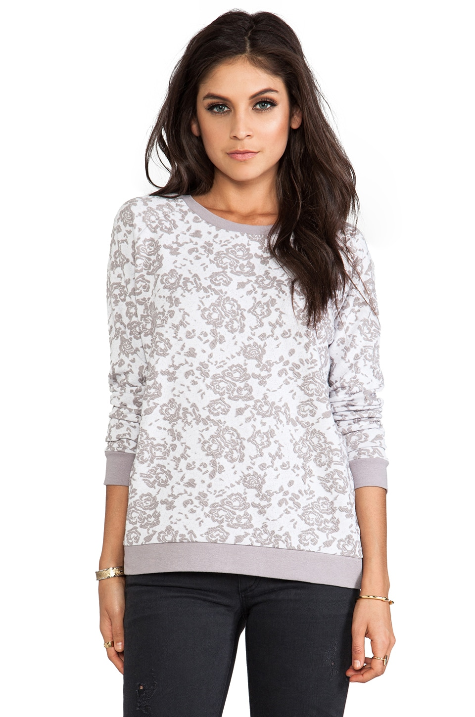 BB Dakota Cirila Rose Jacquard Pullover in Storm Grey