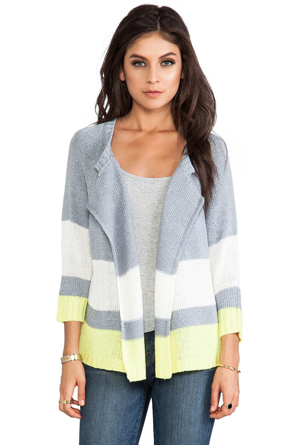 BB Dakota Idra Striped Cardigan in Heather Grey