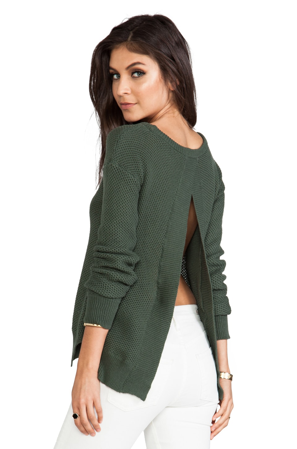 BB Dakota Kit Open Back Sweater in Army Green